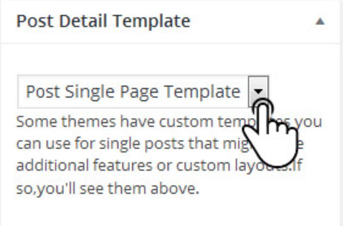 drop down mostrando com utilizar o plugin de template para página single